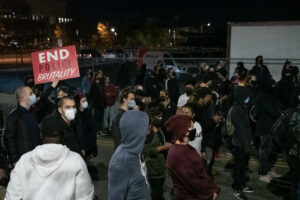 Video:  Protesters tangle with police